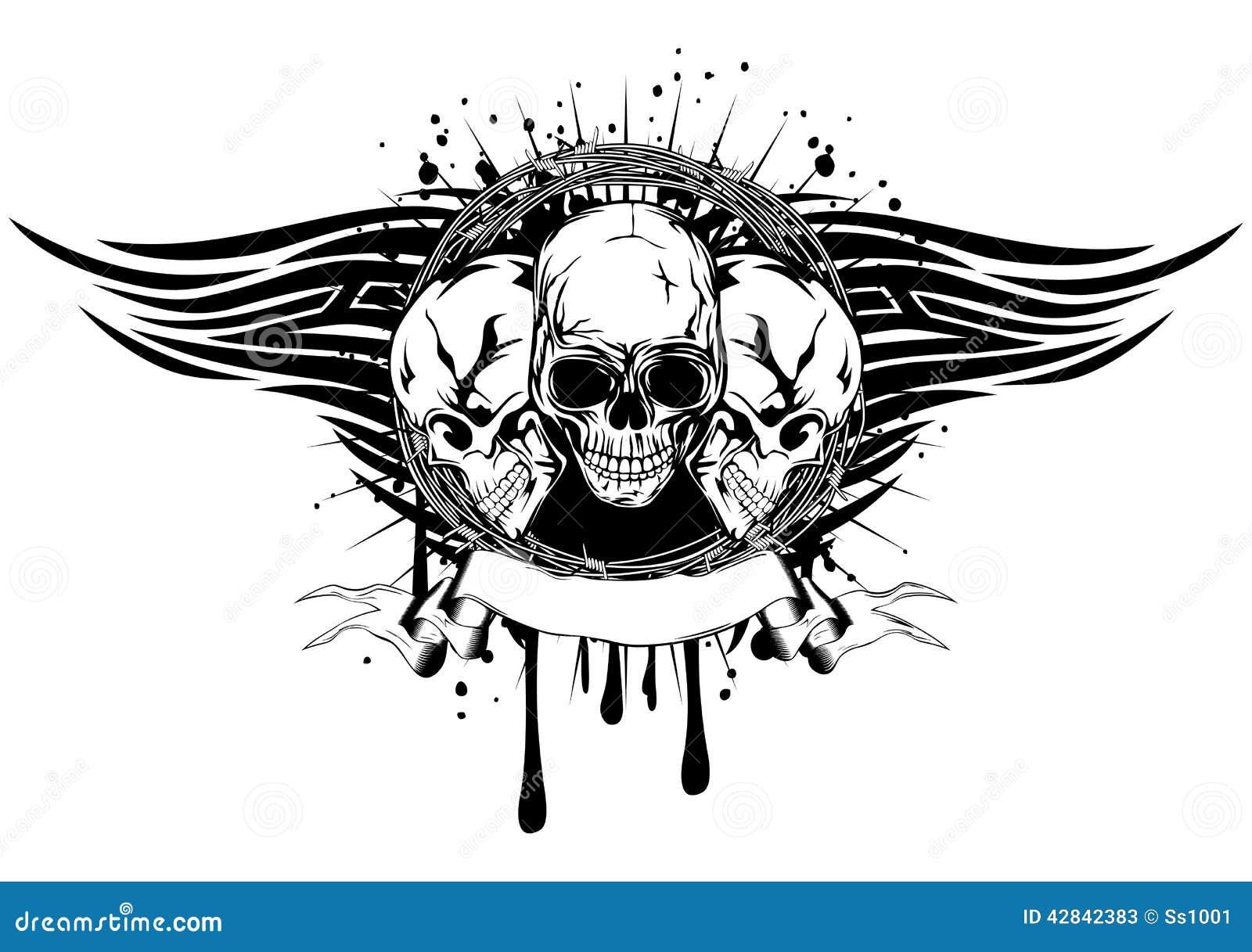 Tribal Death Tattoo: Three Skulls Tribal Stock Vector. Illustration Of Cranium