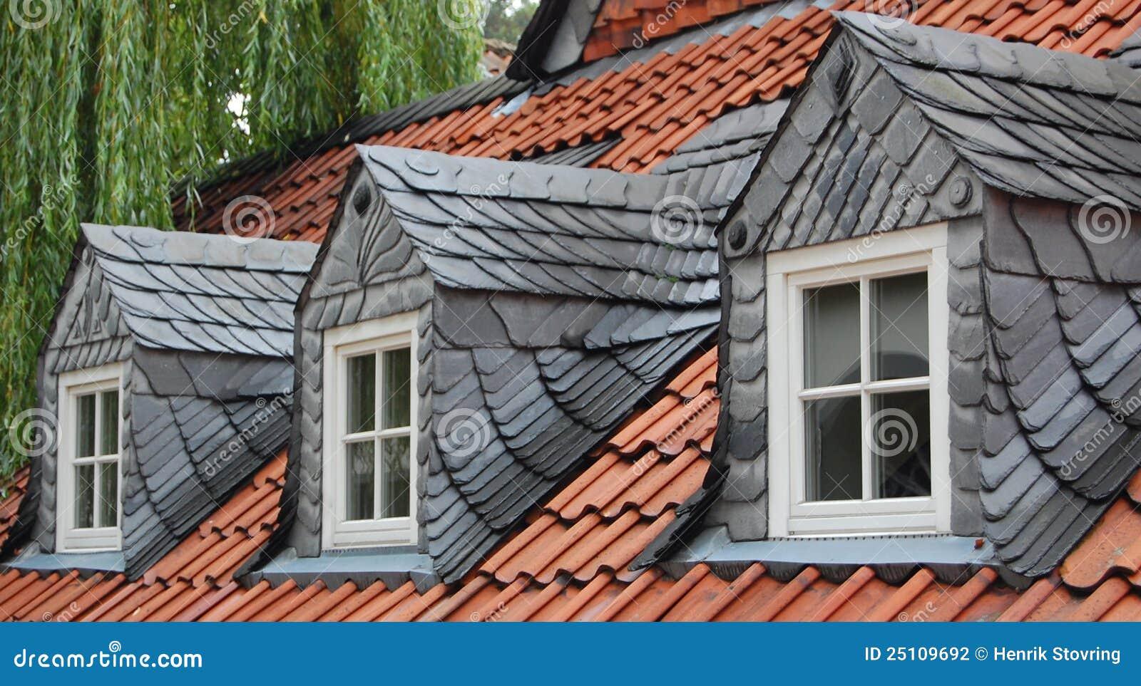 Three Slate Dormer Windows Stock Photo Image Of Slate
