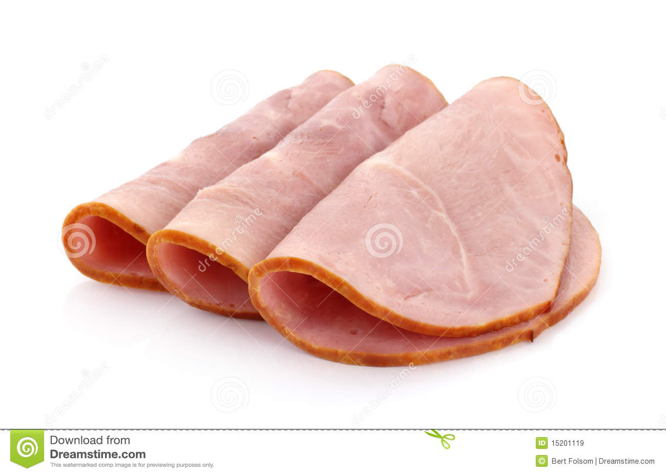 Three Slices Of Baked Ham Royalty Free Stock Images - Image: 15201119