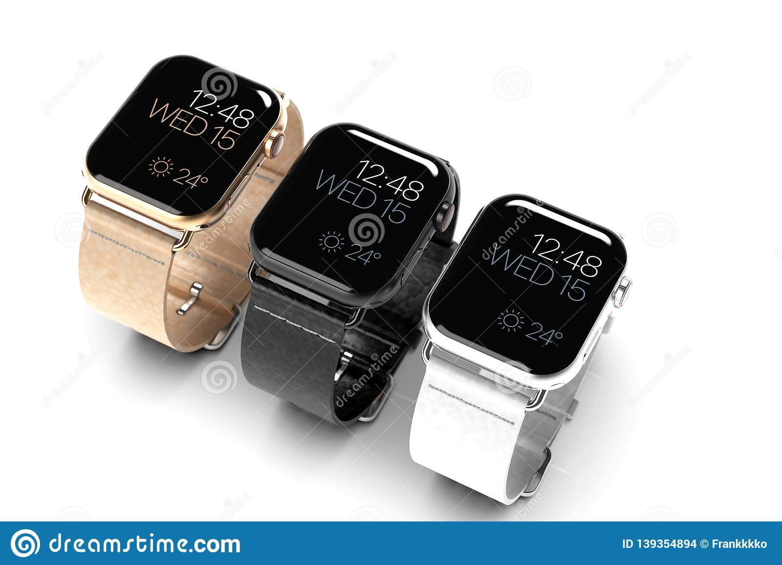 f5d7975f 3 Smart Watches - Apple Watch 4, All Colors, On White Editorial ...