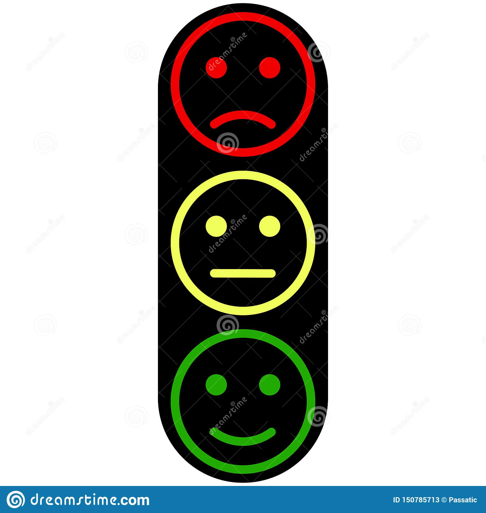 Three smiley faces yellow red green colors