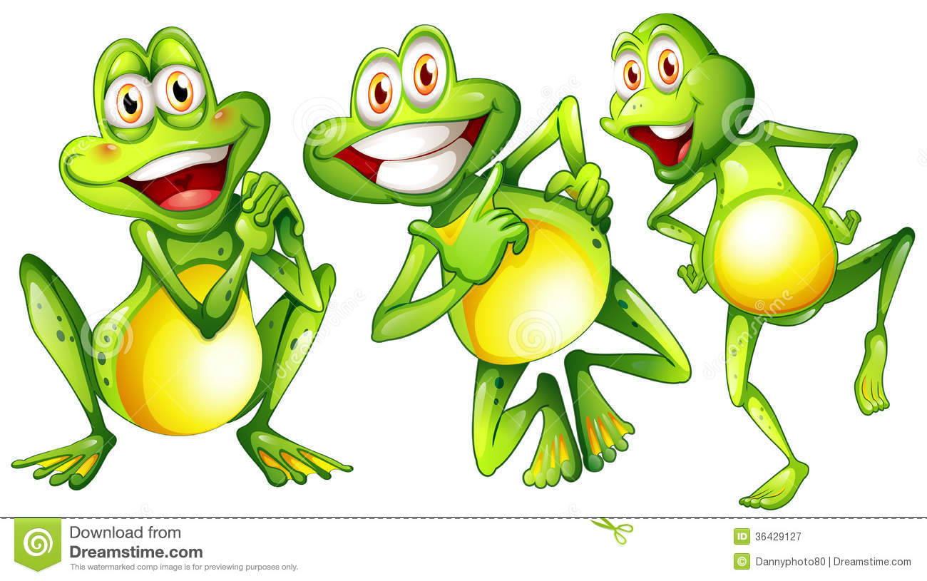 Three Smiling Frogs Royalty Free Stock Photography Image