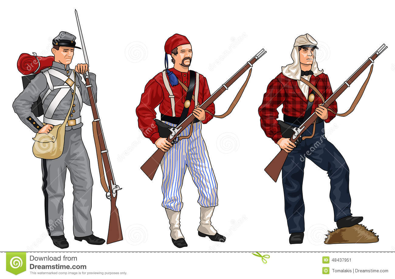 Three Soldiers From American Civil War Stock Illustration - Image ...