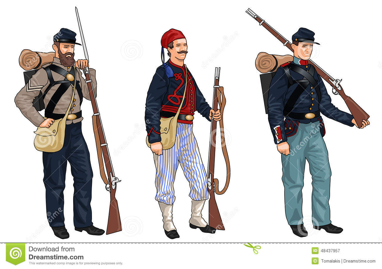 three soldiers from american civil war stock illustration