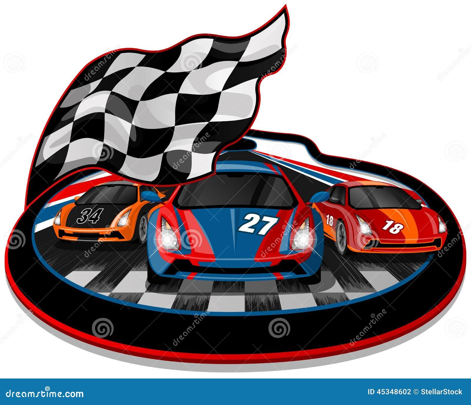 Design car flags - Three Speeding Racing Cars
