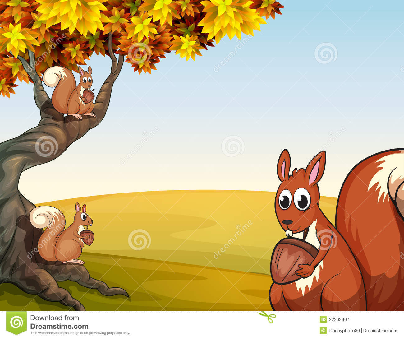 Three Squirrels With Nuts At The Big Tree Royalty Free ...