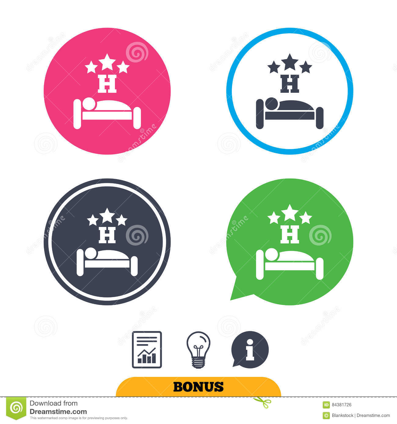 Three Star Hotel Sign Icon Rest Place Stock Vector Illustration