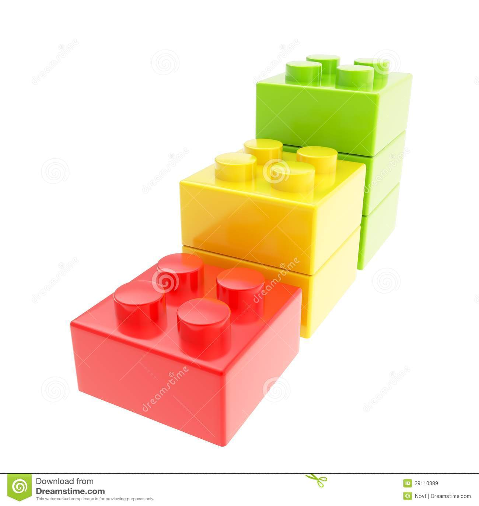 Three Step Stair Made Of Toy Construction Brick Blocks