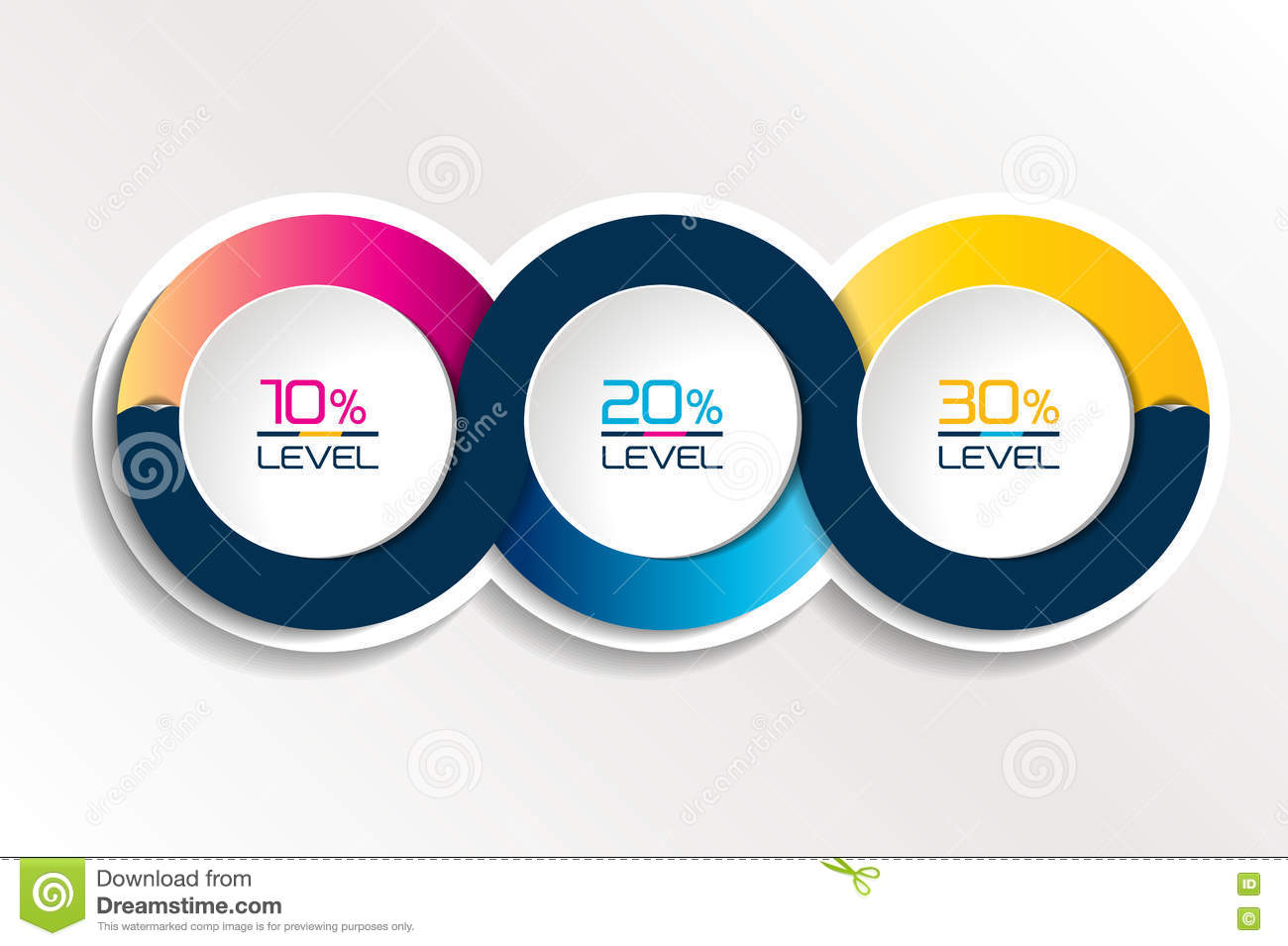 three steps connected element banner  template  chart  infographic  step by step number option