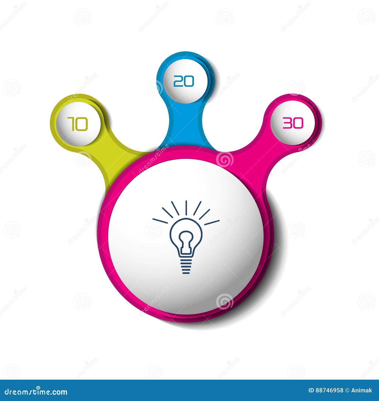 Three steps elements bubble chart scheme diagram stock vector download comp ccuart Images