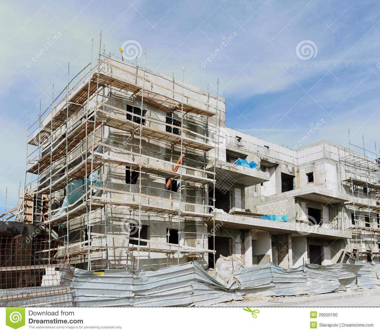 Building Under Construction : Three storeyed apartment building under construction stock