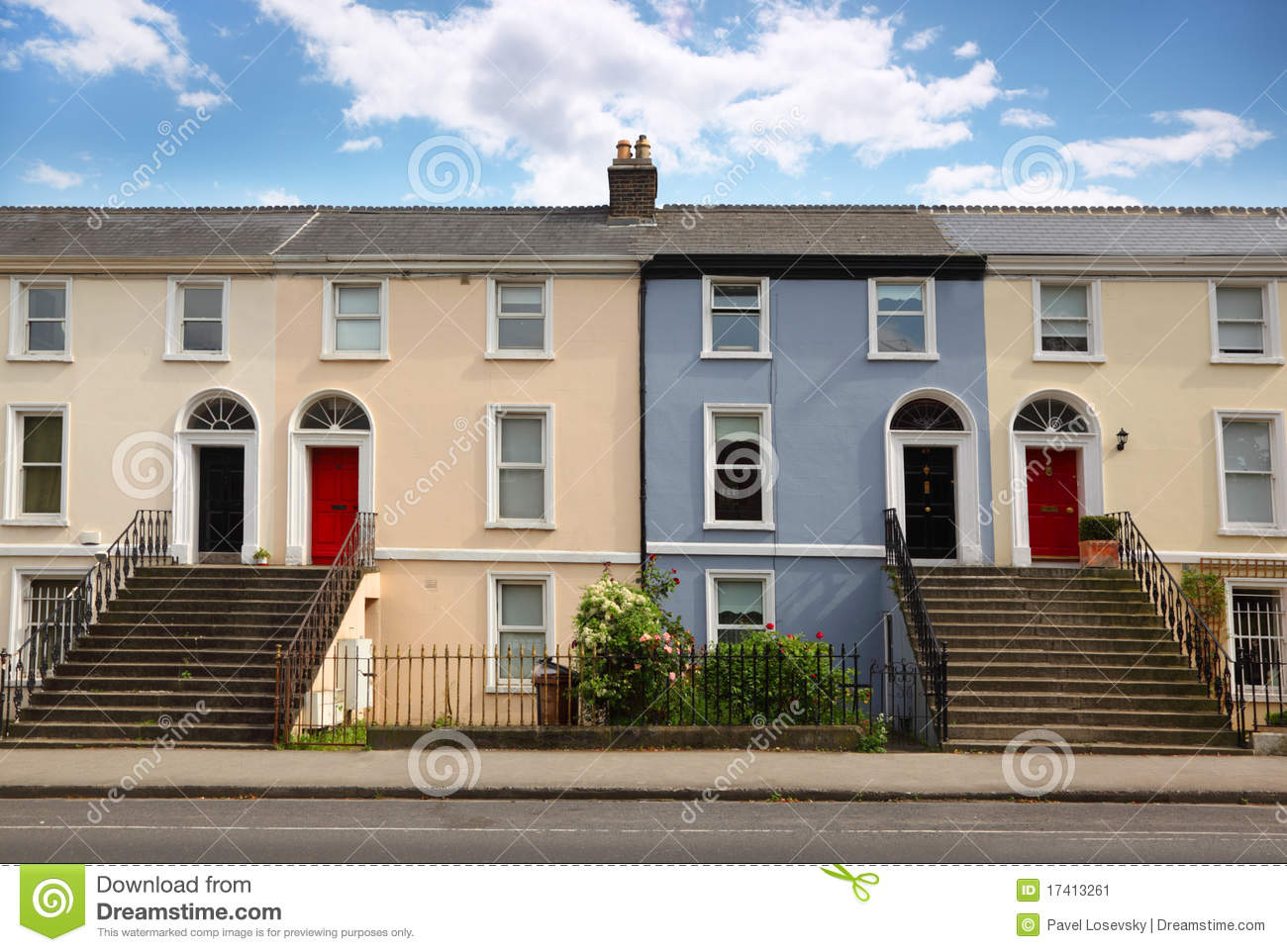 Three story house stands beside road stock image image for 3 story house