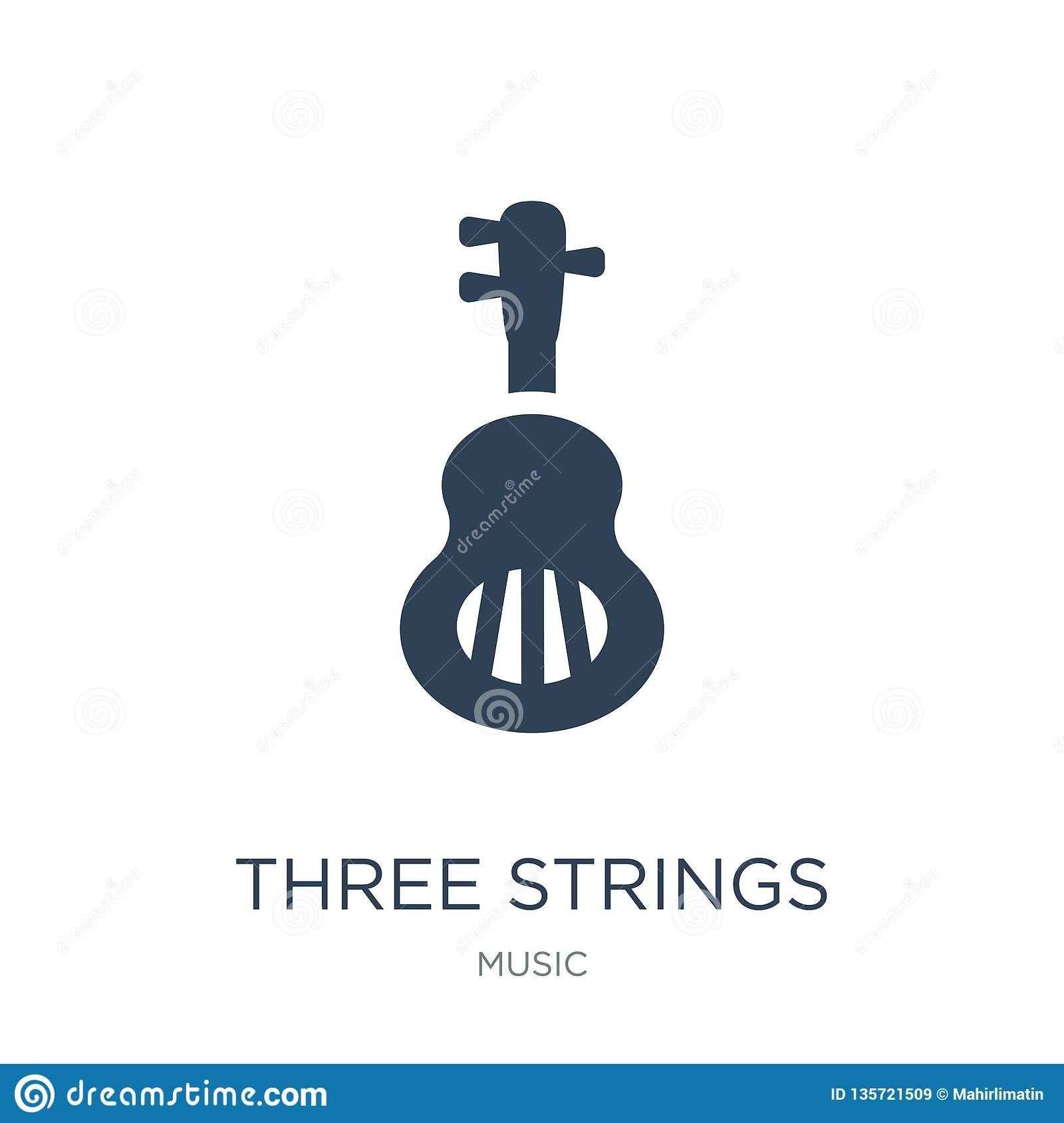 three strings guitar icon in trendy design style. three strings guitar icon isolated on white background. three strings guitar