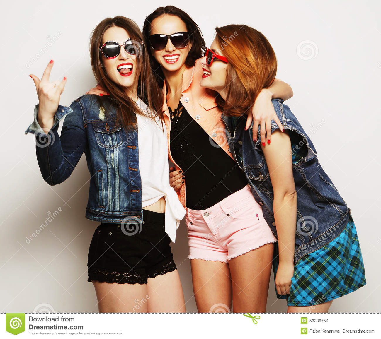 three stylish hipster girls best friends stock photo image of