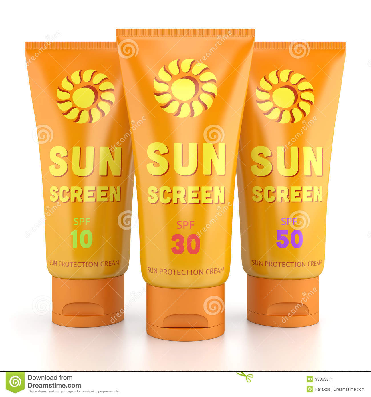 Three Sunscreen Tubes Isolated On White Stock Image Image 33363871