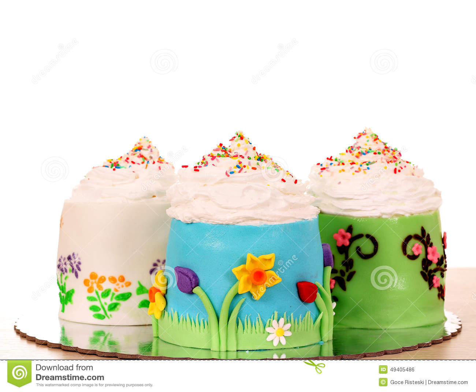Three Sweet Cupcakes Stock Photo - Image: 49405486