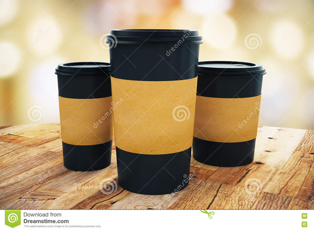8667c8ab9e5 Close up of three black take away coffee cup with blank brown paper holder  placed on wooden table. Light bokeh background. Mock up, 3D Rendering