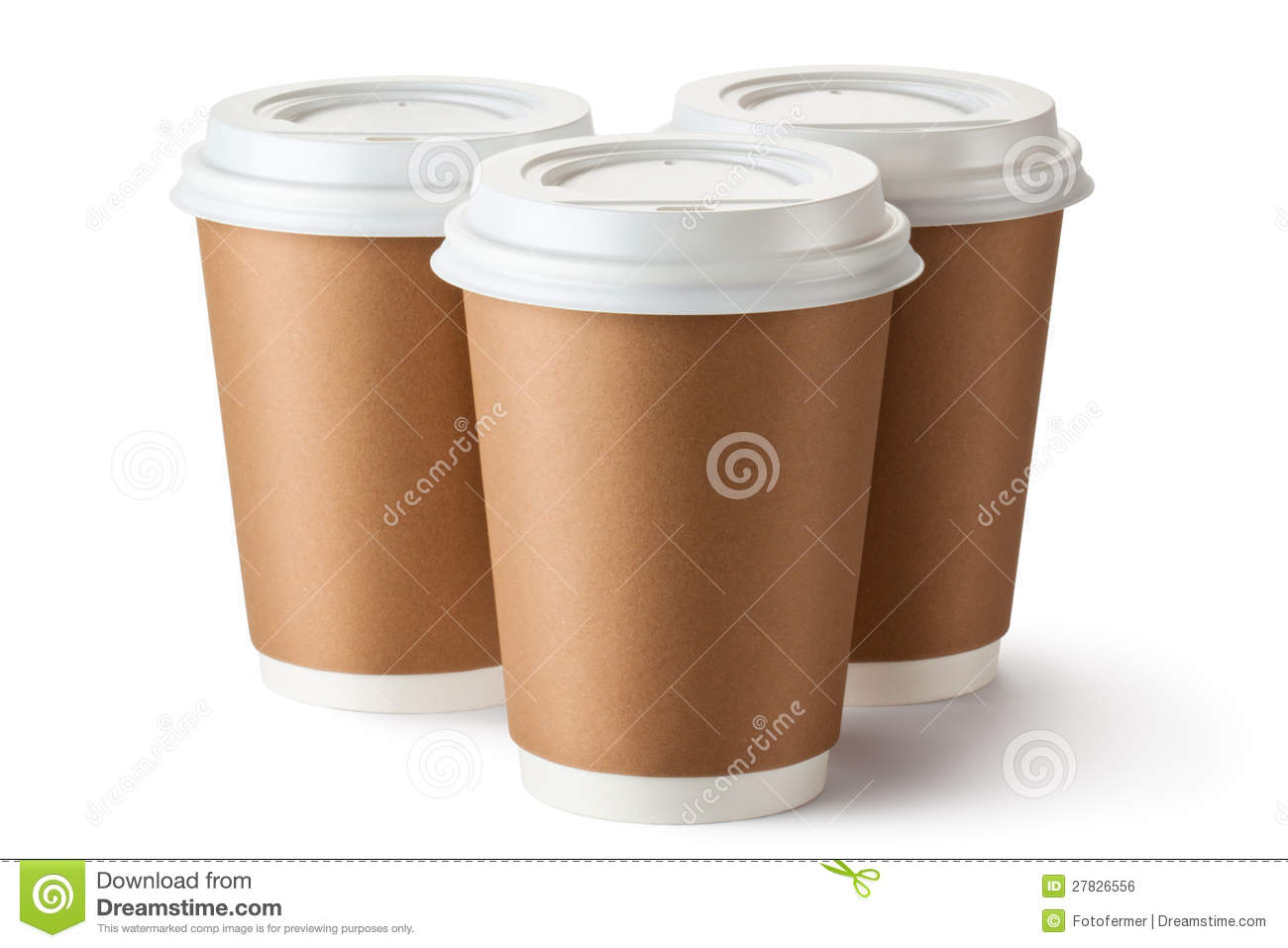 Three Take Out Coffee In Cardboard Thermo Cup Stock Photo