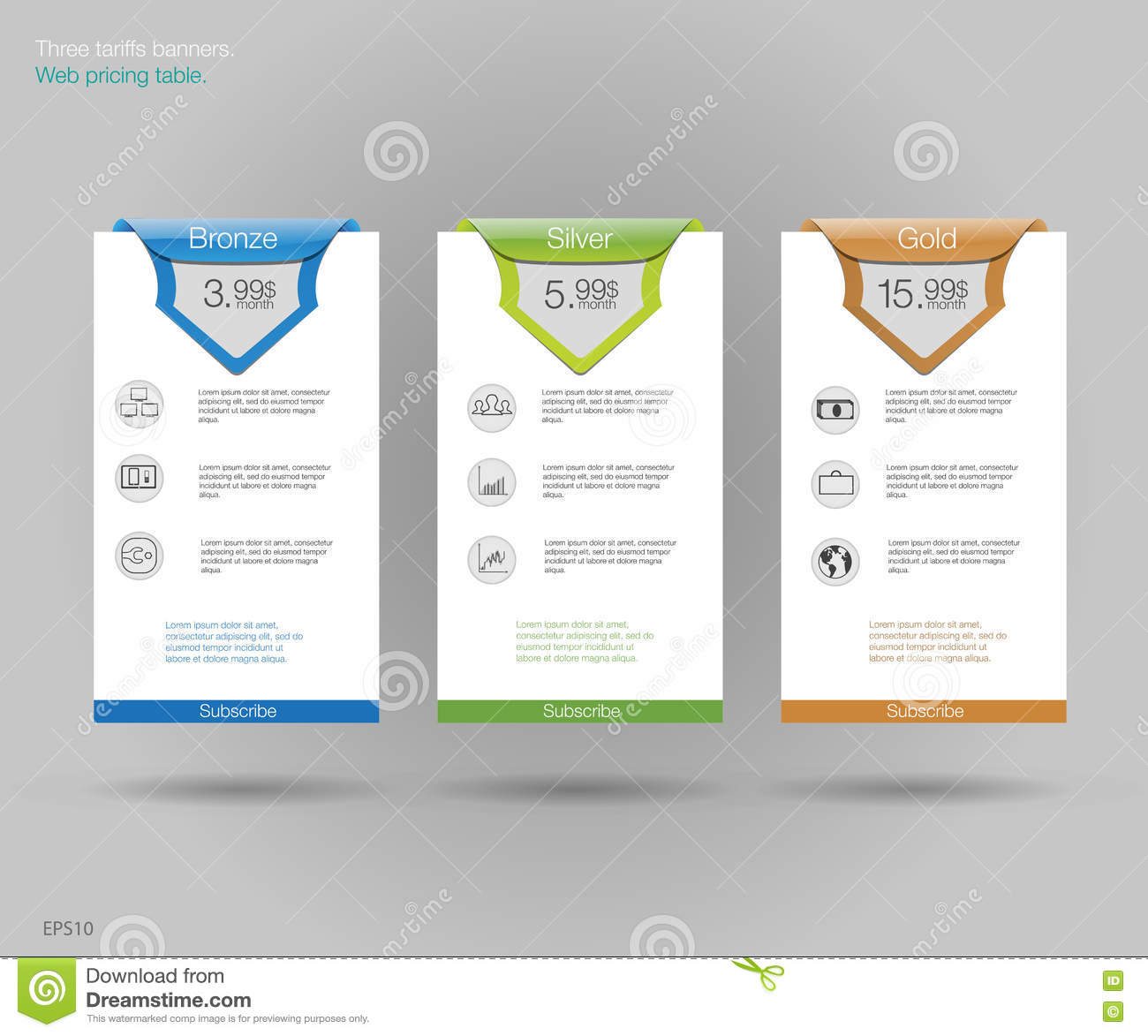 three tariffs banners web pricing table vector design for web app