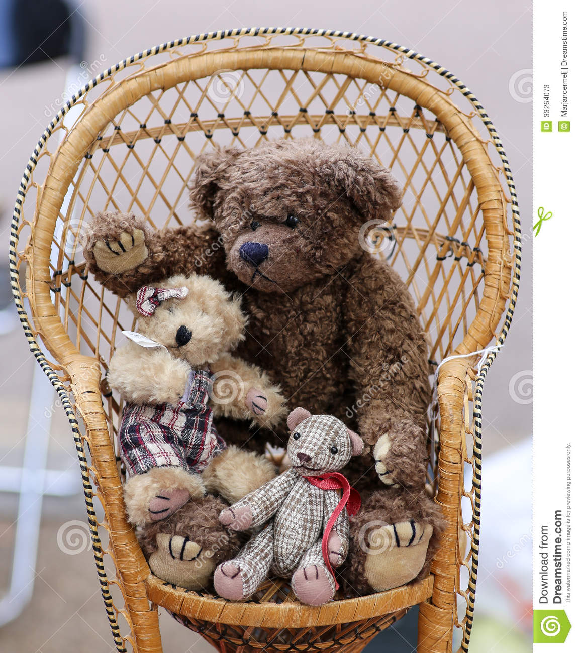 Three Teddy Bears On Chair Stock Photos Image 33264073