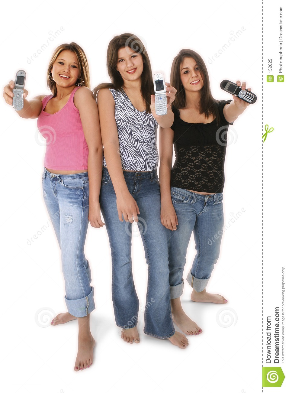 Three Teen Girls With Cellphones Over White