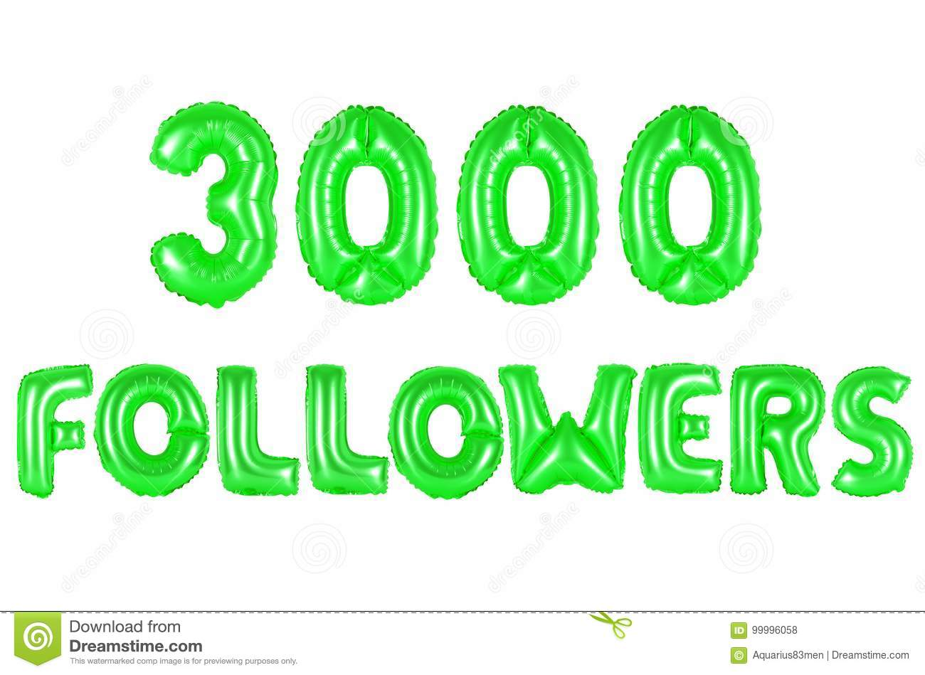 Three Thousand Followers, Green Color Stock Photo - Image of ...