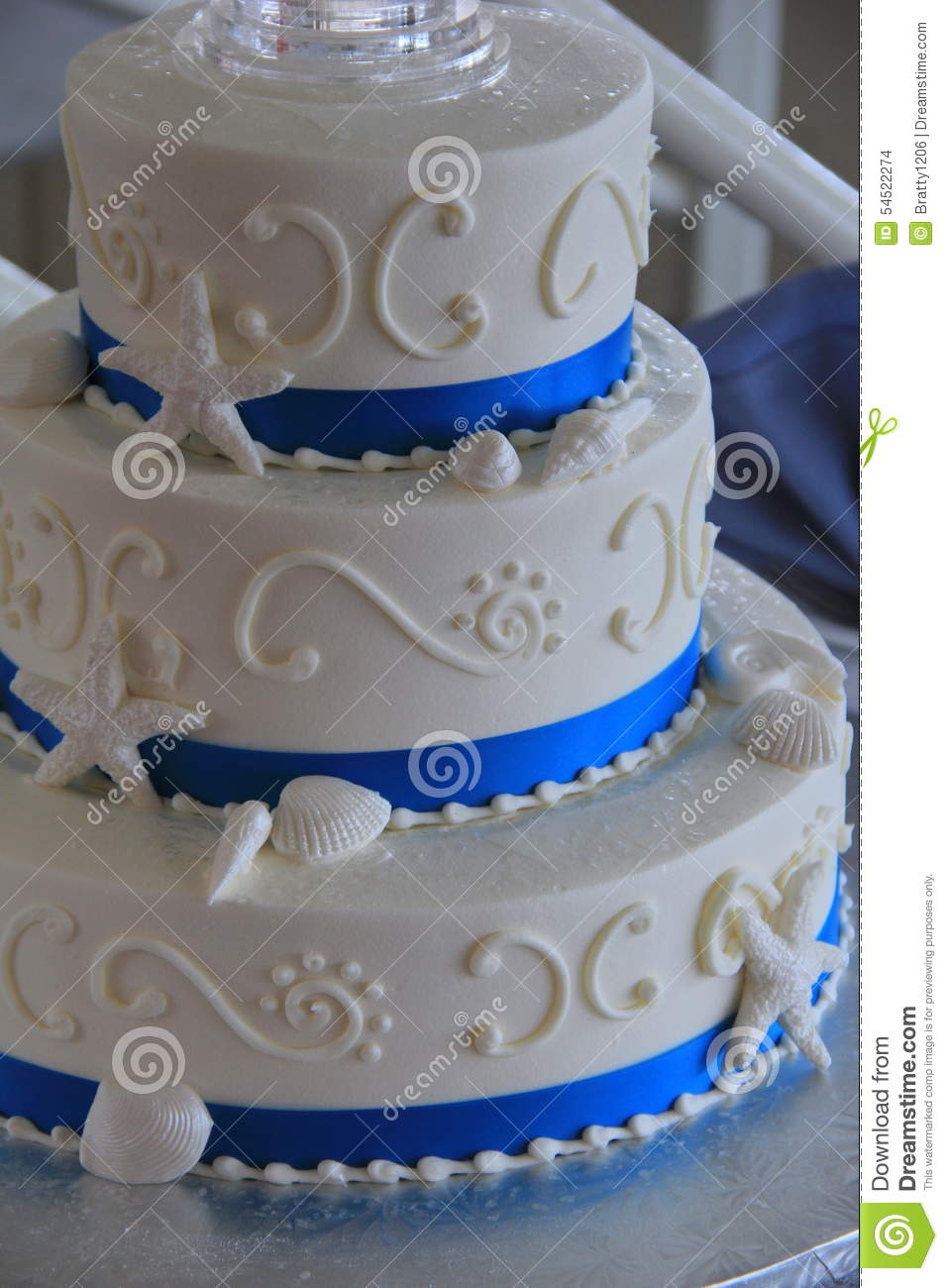 Three Tier Beach Themed Wedding Cake Stock Photo Image