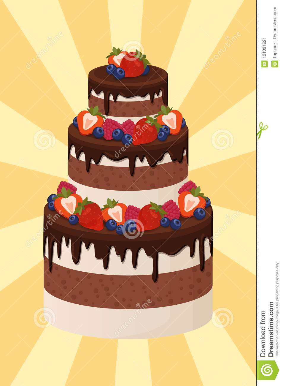 Three-Tier Cake With Chocolate And Cream Layers Stock Vector ...