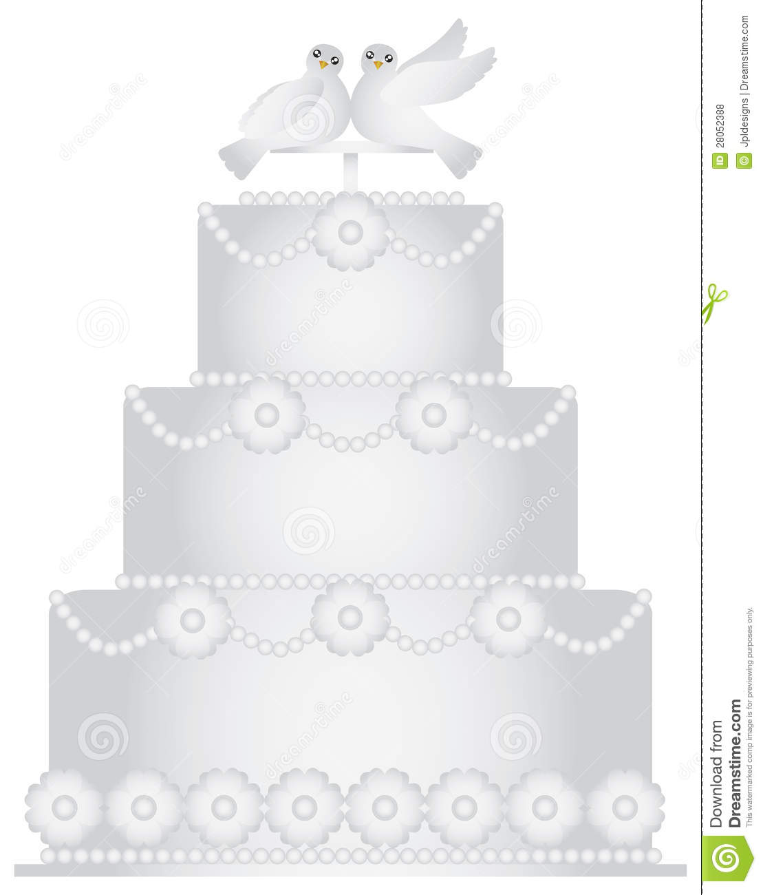 Three Tier Wedding Cake With Pair Of Doves Stock Vector