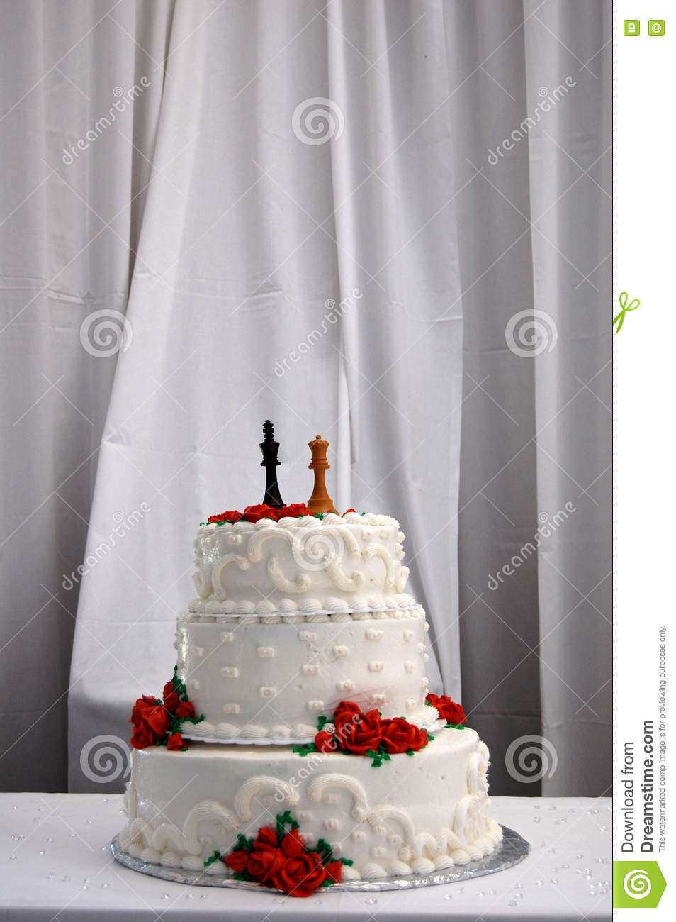 Three Tier Wedding Cake With Red Roses Stock Image - Image of bride ...