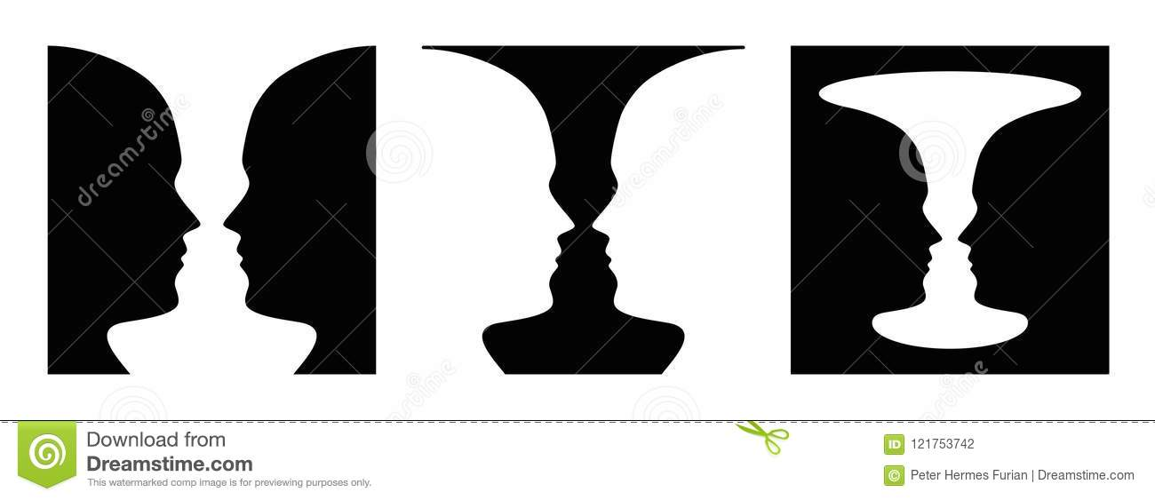 Three Times Figure Ground Perception Face And Vase Stock Vector