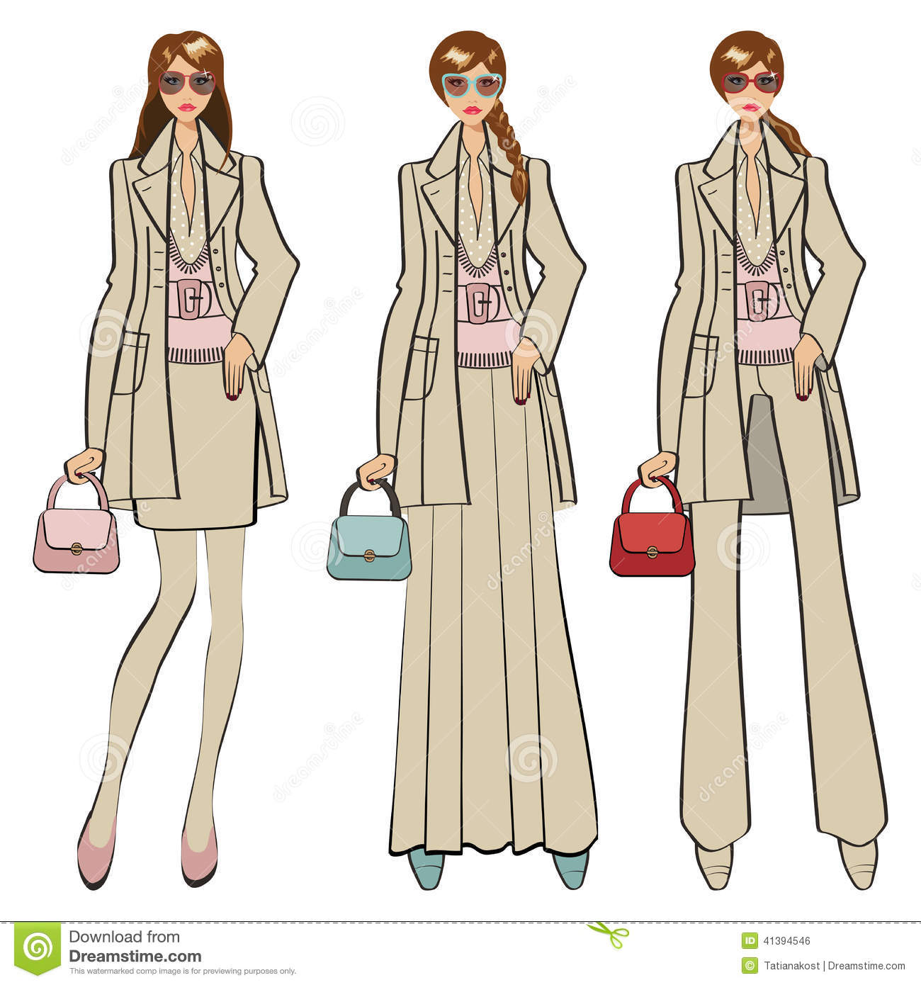 Three Trendy Girls Fashion Illustration Stock Vector Illustration Of Couture Blue 41394546