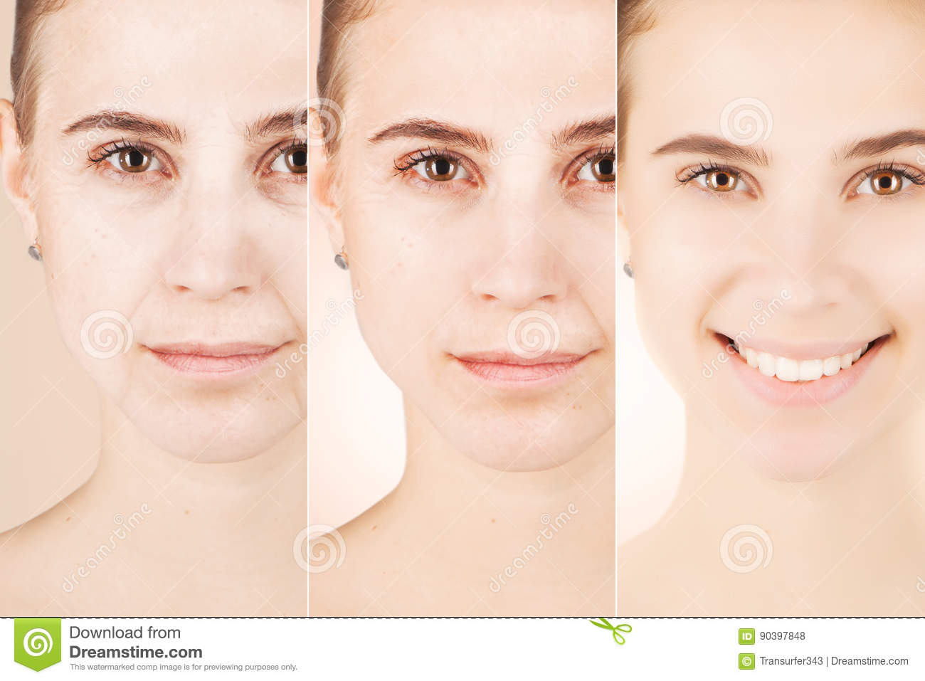 Three types of age changes on blond woman`s face