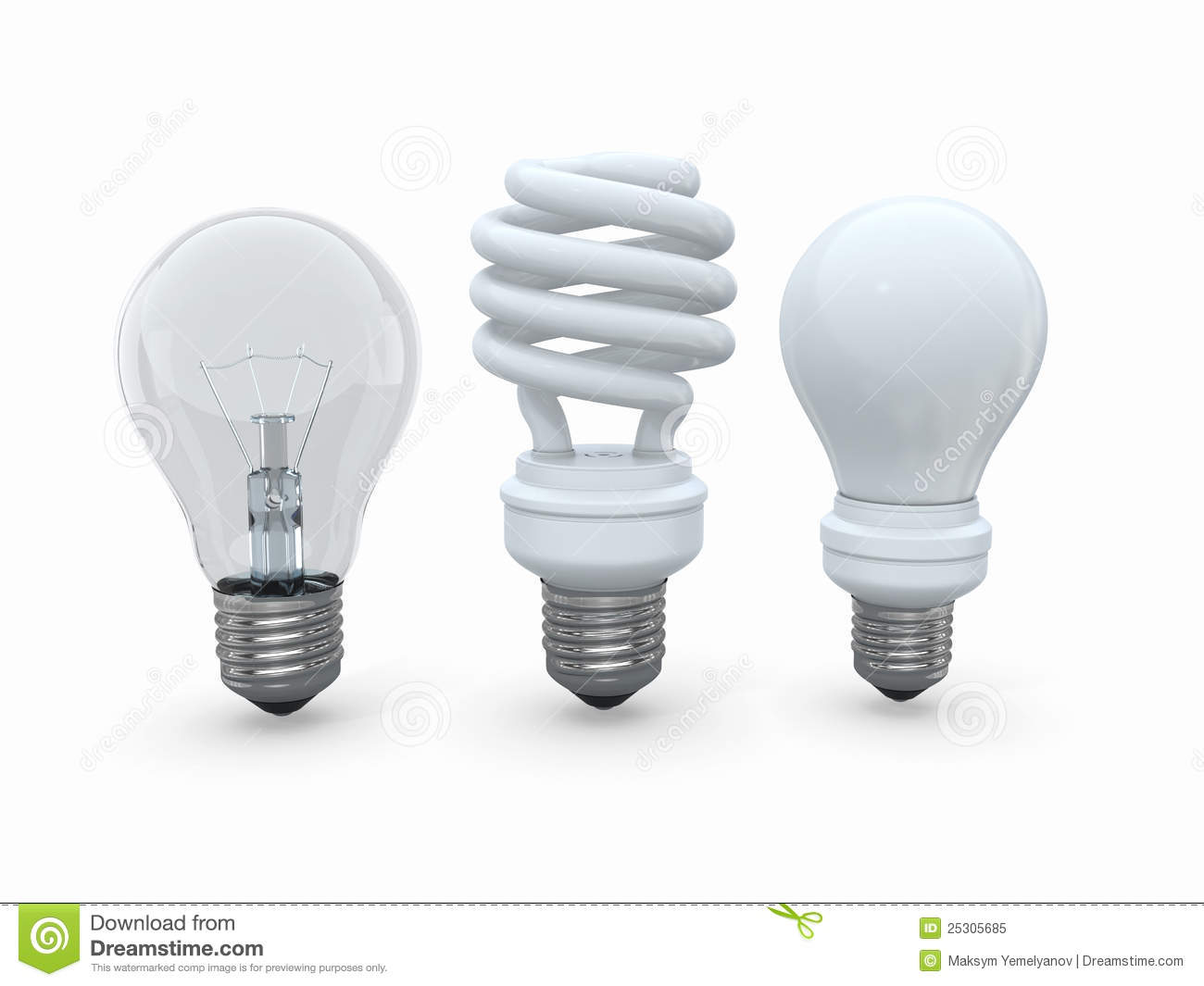 Three Types Of Lamp Bulbs On White Background Royalty Free Stock Photo Image 25305685