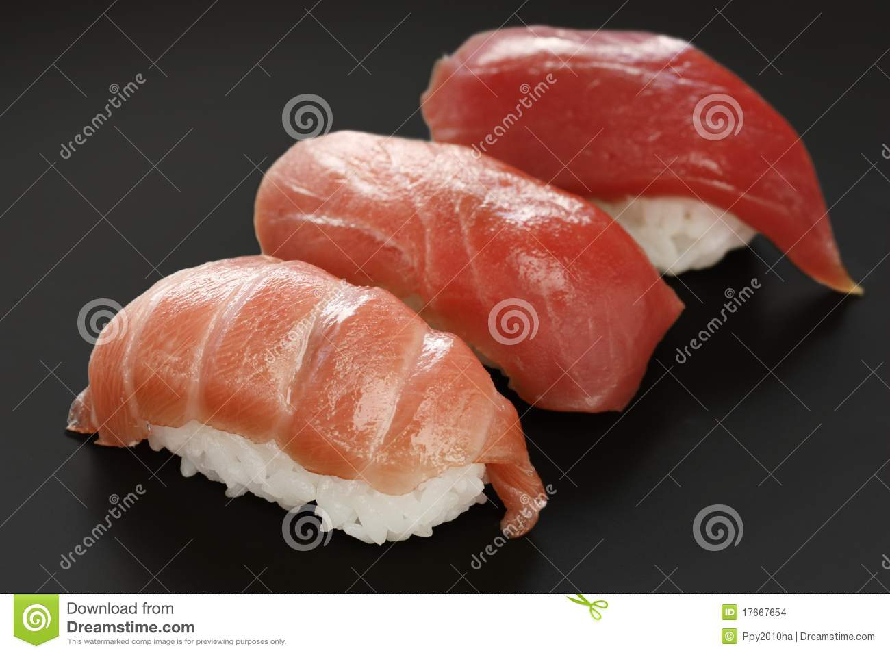 Three Types Of Tuna Sushi Japanese Food Stock Photo Image Of