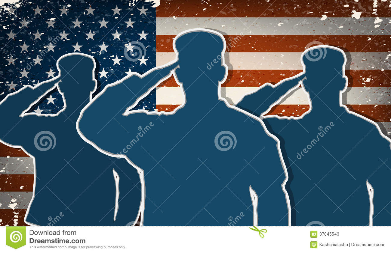 Three Us Army Soldiers Saluting On American Flag Stock