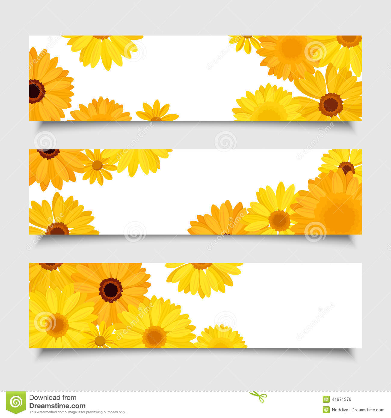 three vector banners with orange and yellow gerbera