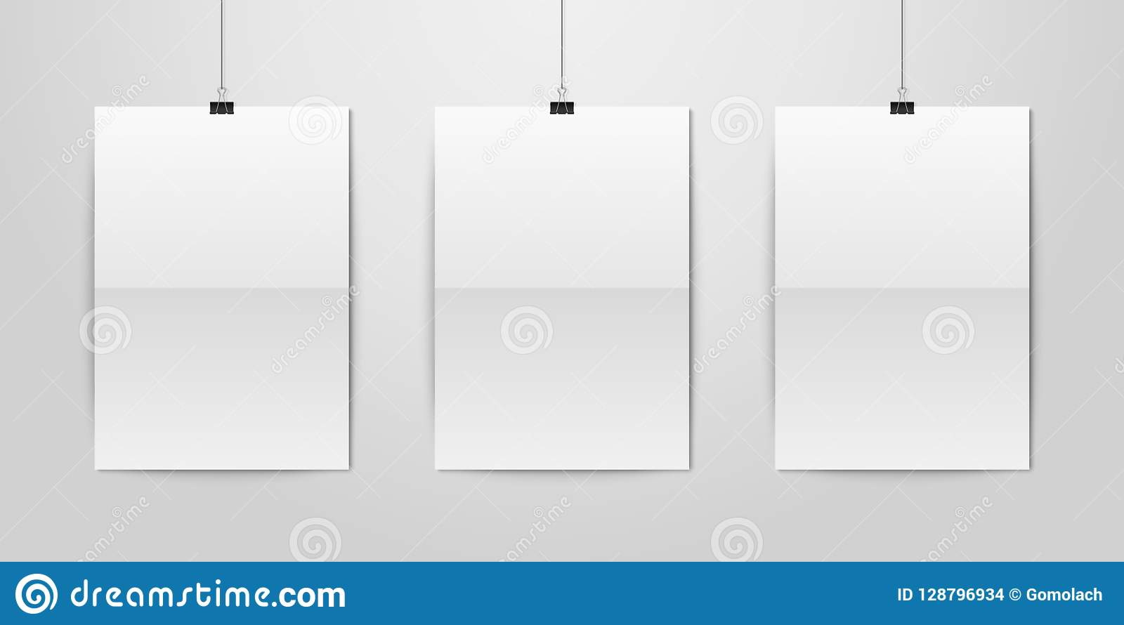 three vector realistic white blank vertical a4 folded paper poster