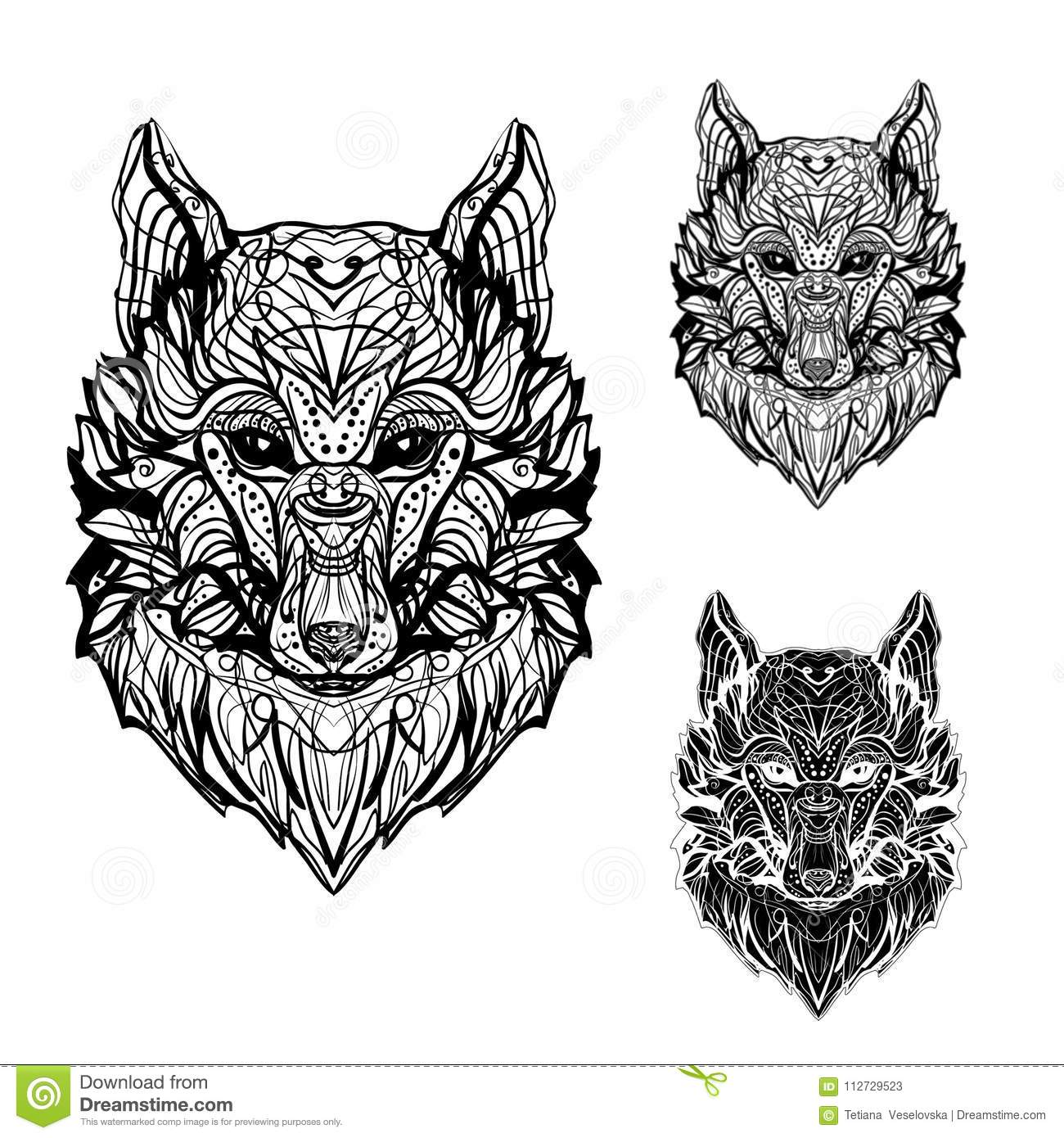 Abstract Image Of A Wolf For Tattoos And Printing On Paper