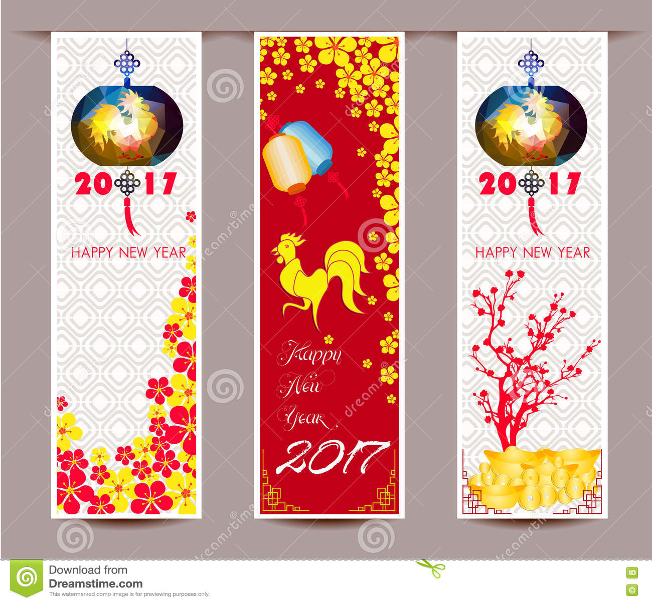 three vertical banners set for chinese new year of rooster