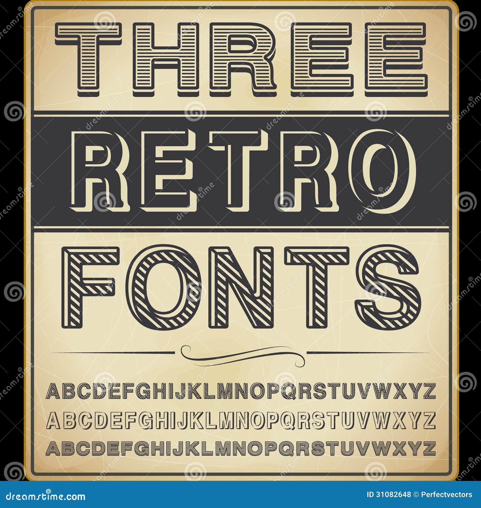 Three Vintage Fonts Royalty Free Stock Photos