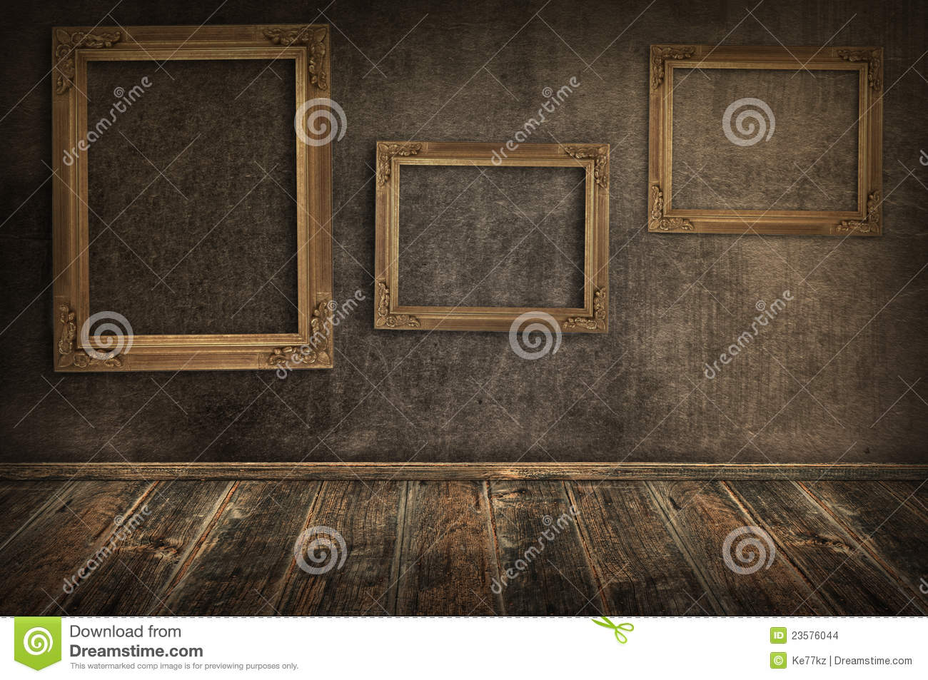 Three vintage frames on the wall.