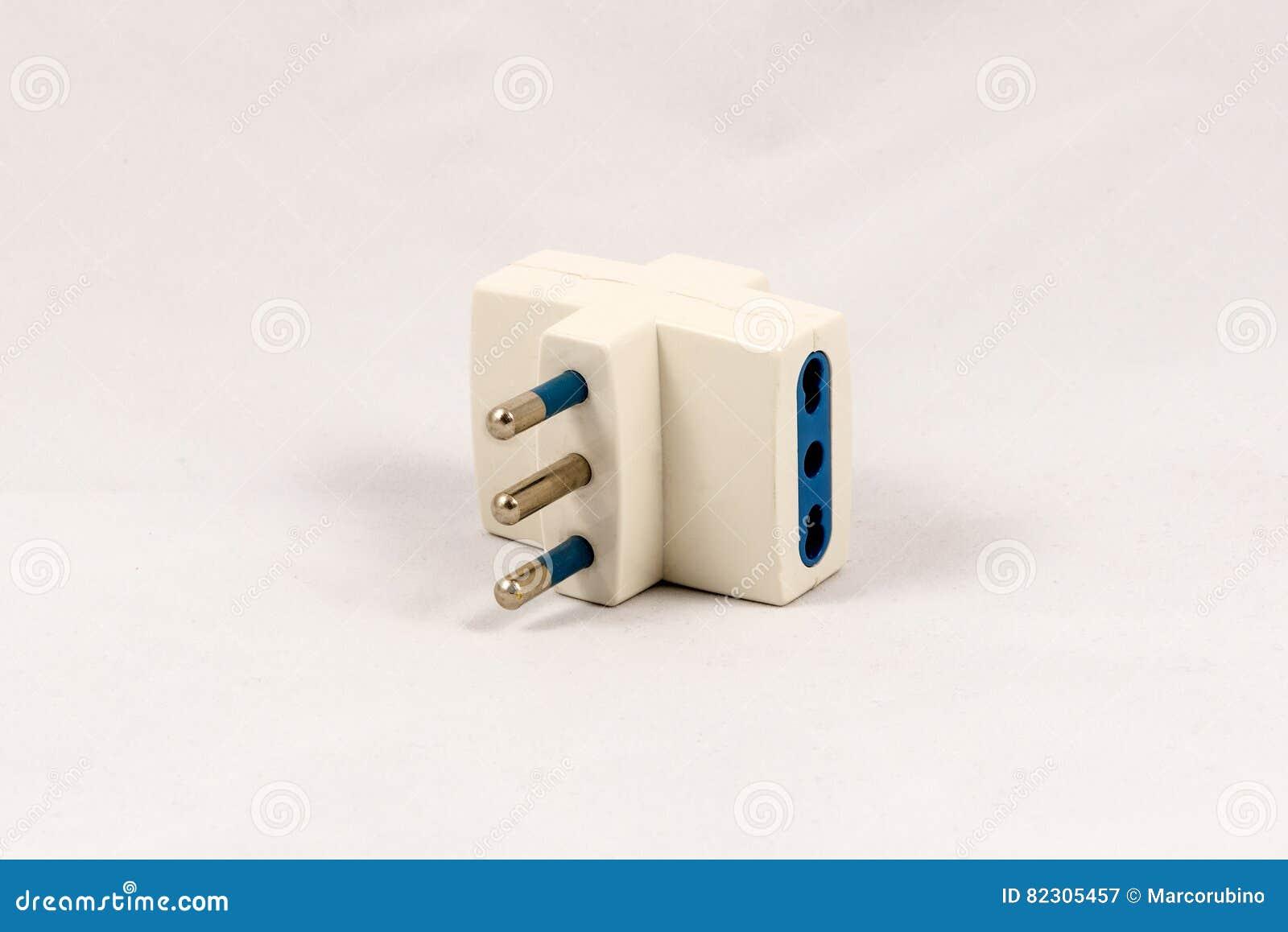 Three Way EU Electric Plug Adaptor Stock Image - Image of pins ...
