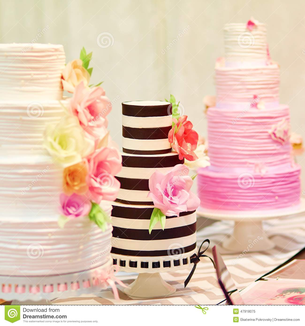 Wedding Dessert Table With Cakes And White Flowers Stock Photo ...