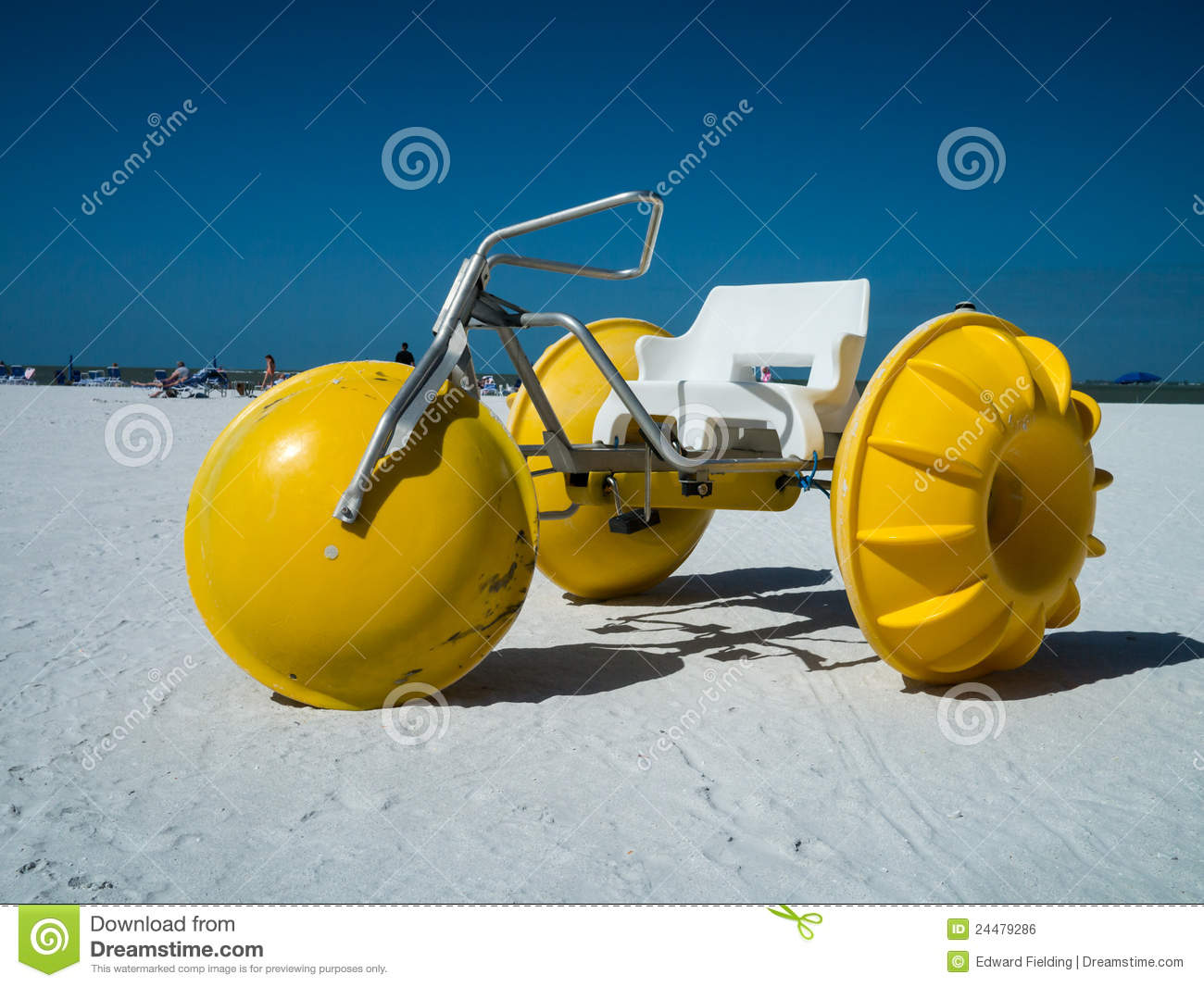 bright yellow three wheeled Pedal Boats or watercraft for rent on ...