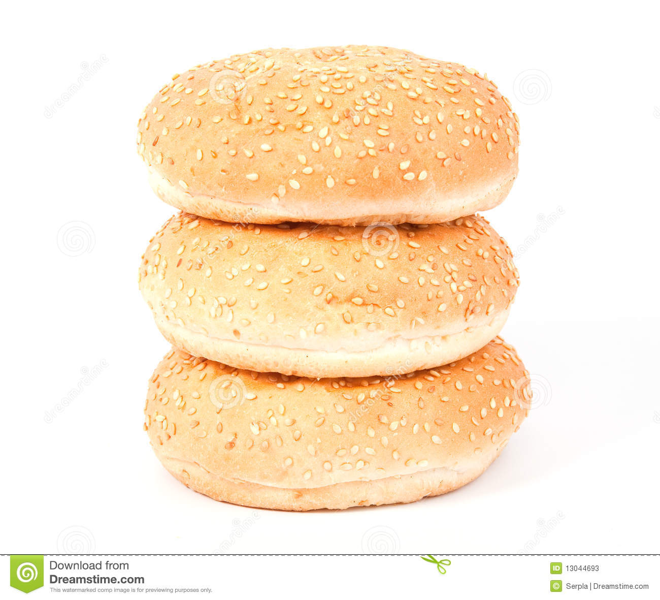 Three white bread roll with sesame over white background.