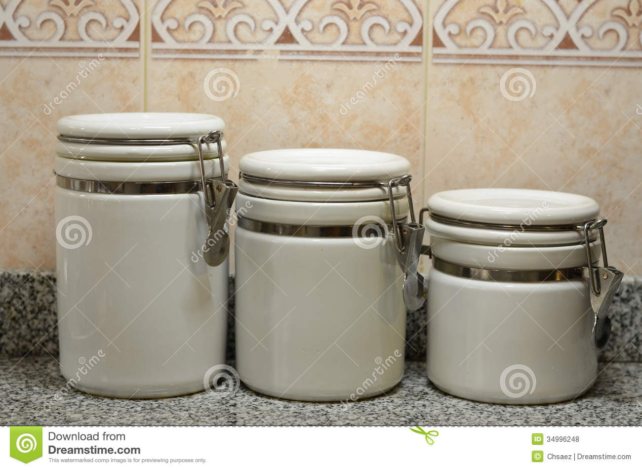 ceramic kitchen storage containers three white ceramic jars on kitchen counter stock photo 5184