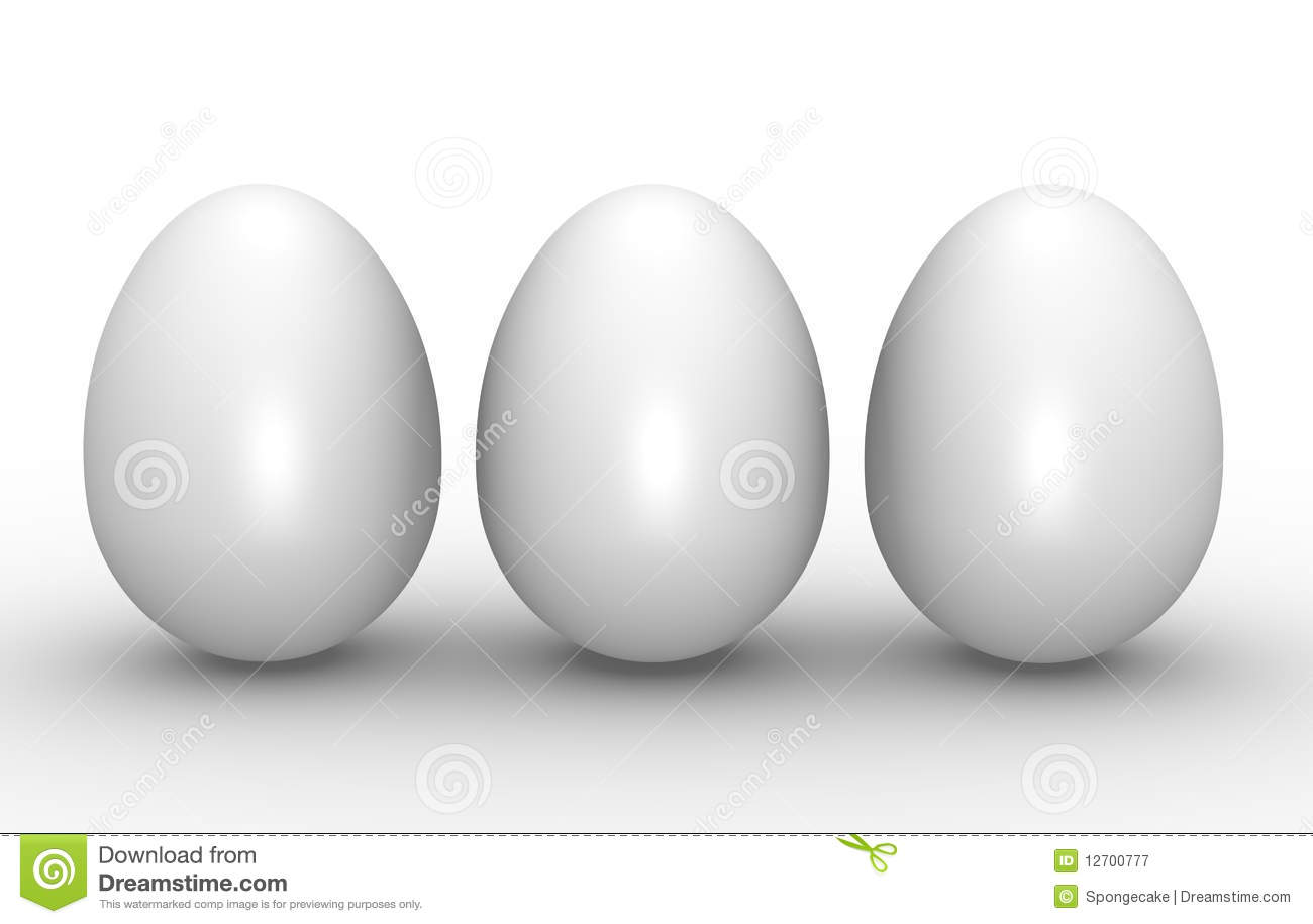 Three White Eggs Royalty Free Stock Photography Image