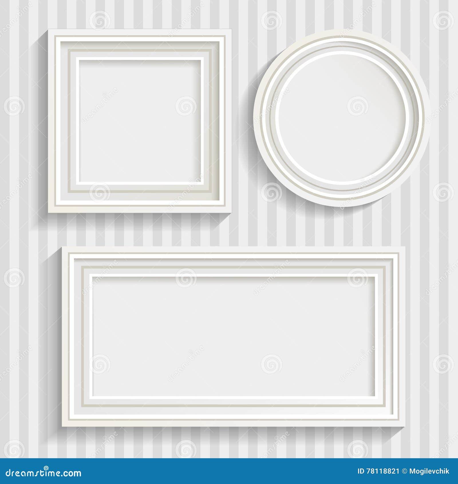 Three White Frames Set stock vector. Illustration of circle - 78118821