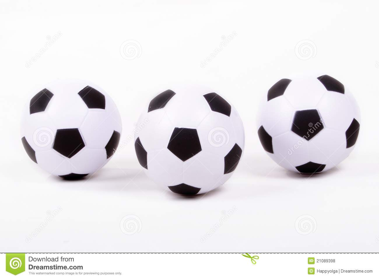 Three White Soccer Balls Royalty Free Stock Photos Image 21089398